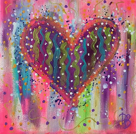 hearts, heart canvas, heart painting, colourful art