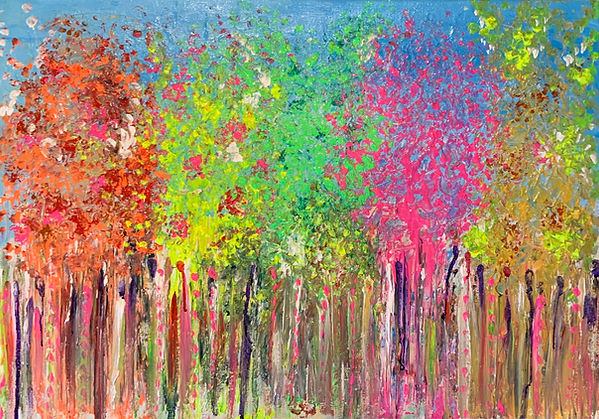 trees, tree painting, colourful art,