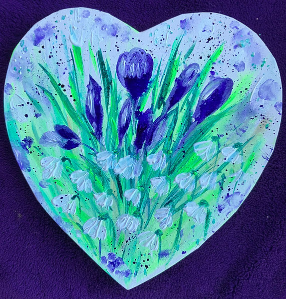 heart art , flowers, snowdrops, paperwhites