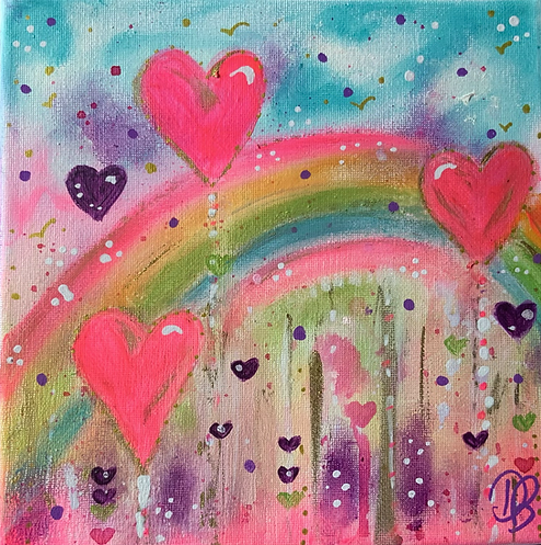 rainbow hearts. hearts . heart painting