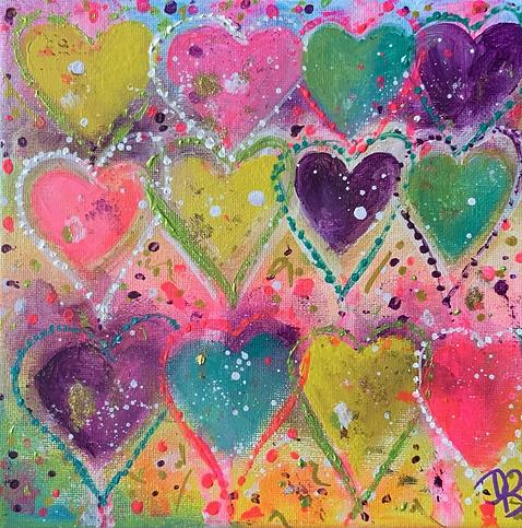 rainbow hearts, heart art, pretty hearts, pretty paintings