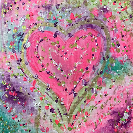 hearts flowers colours paintings heart canvas