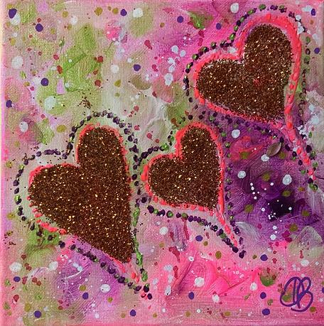 three hearts , sparkle hearts, hearts, colour, glitter, colours