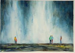 Islandia:aan de waterval