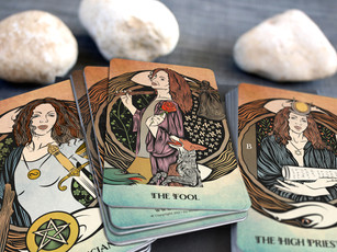 The Fool, The Magician, and The High Priestess - Tarot of Sacred Realms