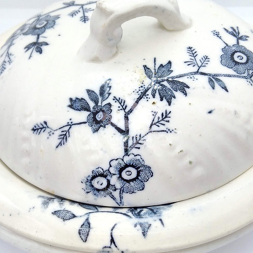Victorian Three-Part Soap Dish with Blue Flowers