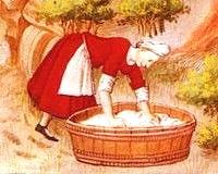 Medieval washerwoman using soapwort