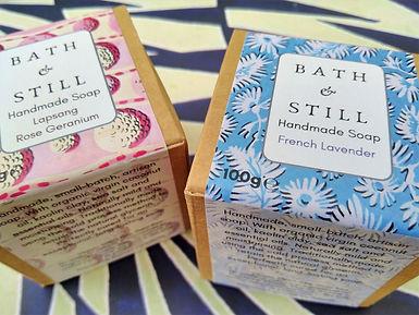Two boxes of handmade vegan soap in beautiful Bath & Still