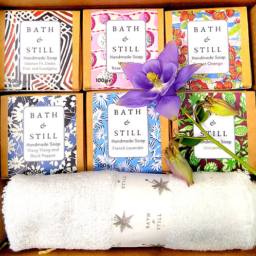 Personalised Six Soap with Bamboo Wash Cloth Gift Box