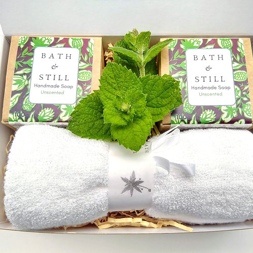 Unscented two soap vegan gift box with super soft bamboo wash cloth