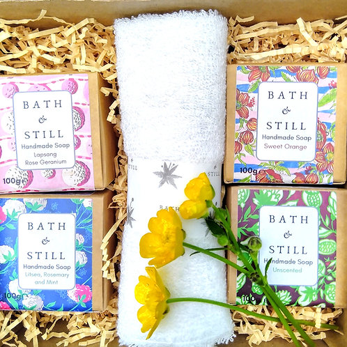 Personalised Four Soap and Bamboo Wash Cloth Gift Box