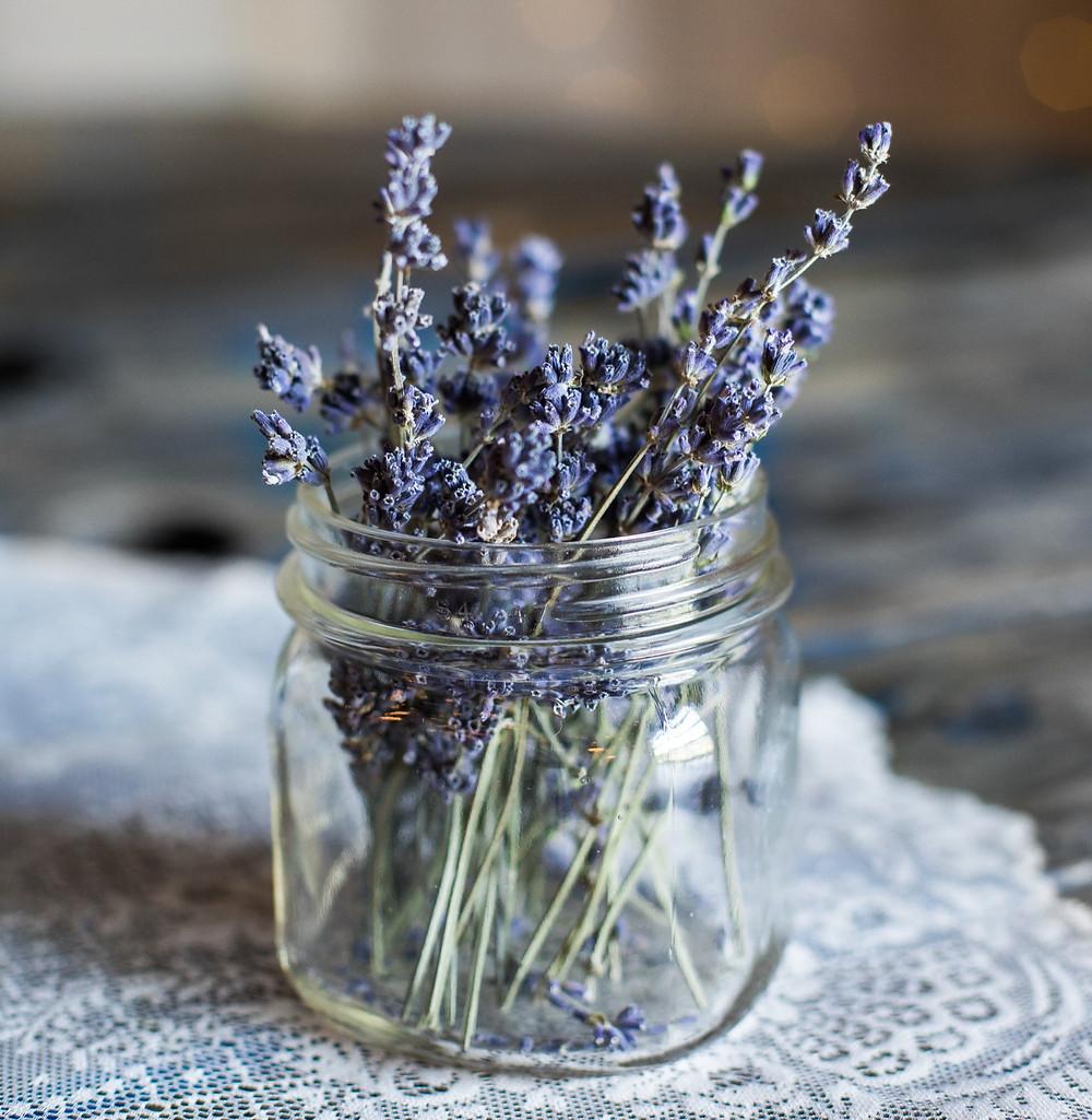 A jar of lavender flowers
