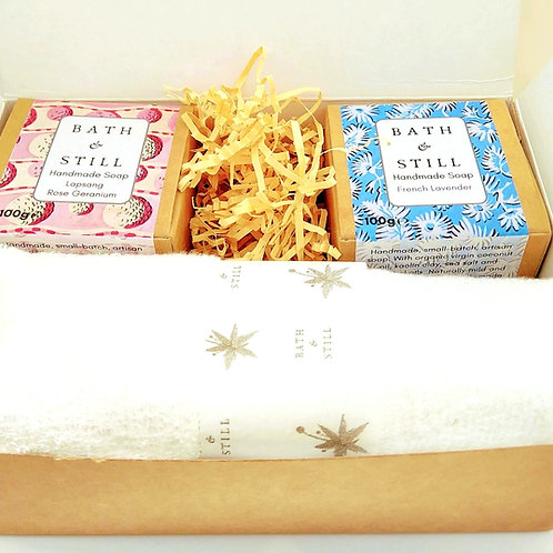 Personalised Two Soap  and Bamboo Wash Cloth Gift Box