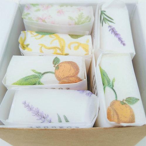 Six luxury vegan travel size soaps