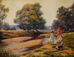 Summer day picnic (Tumut, NSW), 129 H x 40 cm. Oil on canvas