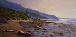 Low tide (Coledale Beach, NSW), 33H x 71 cm, Oil on canvas