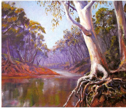 Reaching for the water (Condobolin, NSW), 45H x 50 cm, Oil on canvas