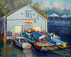 Boats for sale and Hire  Abbotsford point, sydney NSW), 51H x 61 cm, Oil on canvas