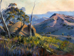 Rocks and shadows (Kanimbla valley, Little Hartly, NSW), 28H x 37 cm, Oil on canvas