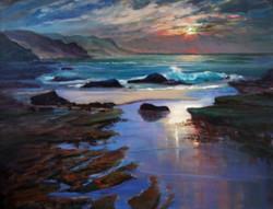 Dawn reflections,Coalcliff Beach ps57x75cm