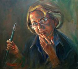 Self portrait 2009, 45H x 55 cm, Oil on canvas