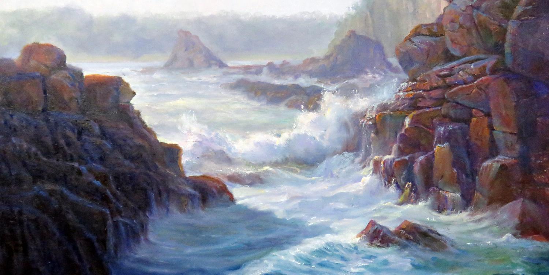 Morning mist, (Boneyard BeaHch, Kiama, NSW), 47x 70 cm   Oil on canvas