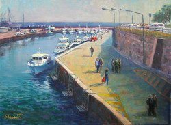 Wollongong Harbour (Wollongong NSW),, 41 H x 56 cm, Oil on canvas
