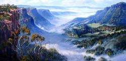 Fog on Kangaroo Valley (Shoalhaven, NSW), 36 x 63 cm, Oil on canvas