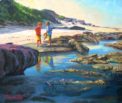 Collecting treasures, Norah heads (NSW), 46H x 55 cm,  Oil on canvas