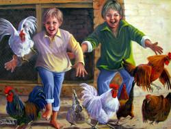 Having fun with Granpa's chicken, 74H x 99 cm, Oil on canvas