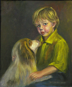Best friends- Commission 44H x 36 cm, Oil on canvas