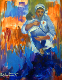Save the Children Fund-  the Red Cross 1 (20H x 29 cm), Oil on stretched canvas