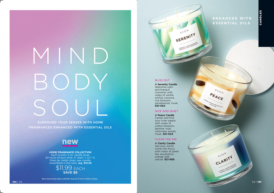 Avon candles - Mind, Body, Soul