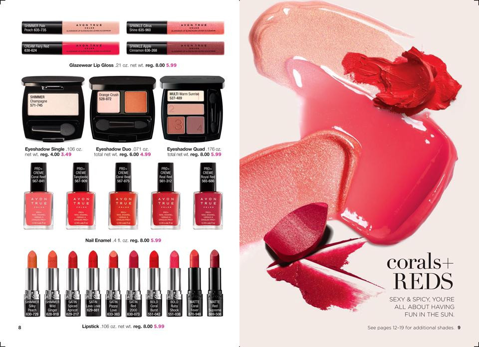 AVON True Color Collections: corals + REDS
