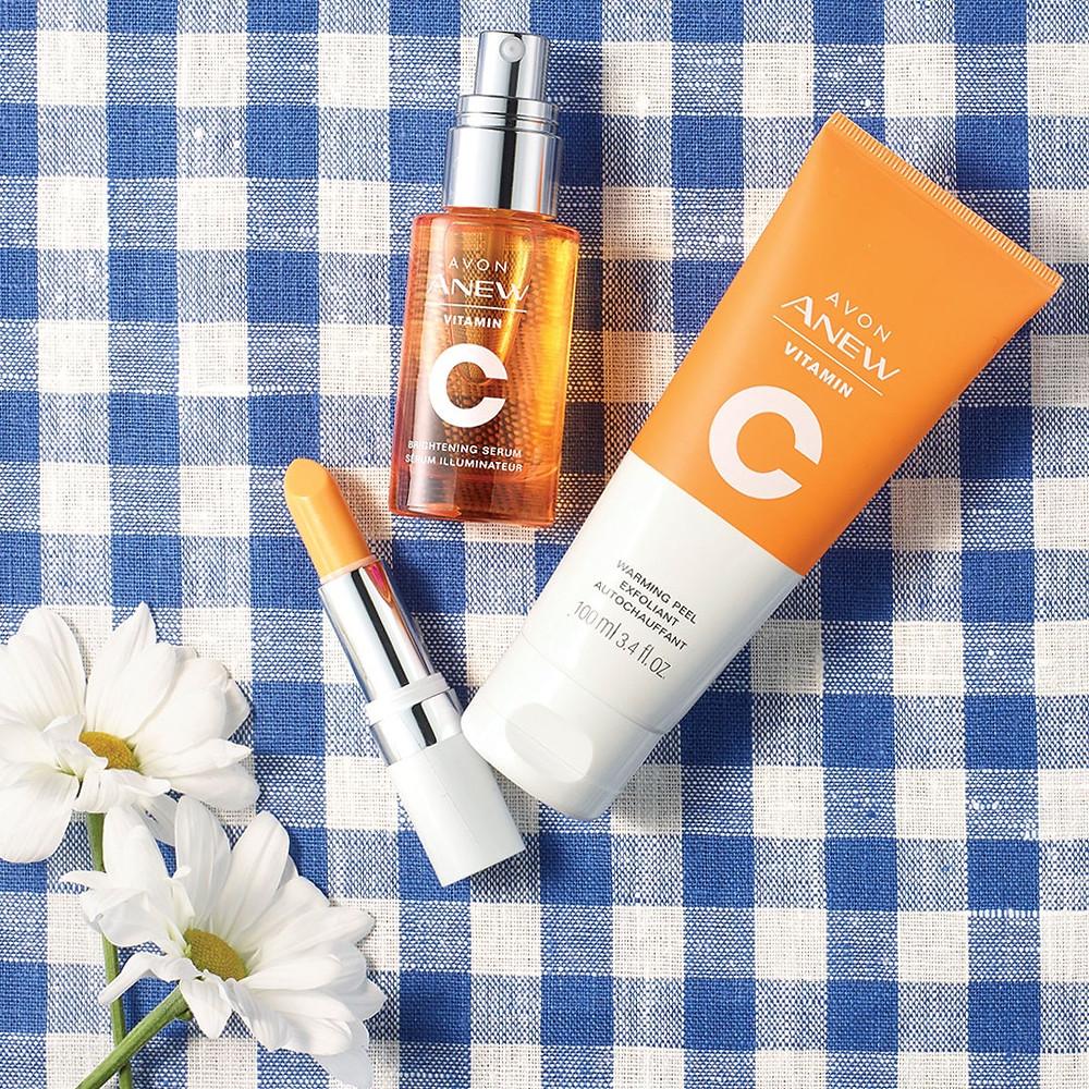 AVON Anew Vitamin C Brightening Serum, Warming Peel, and Lip Treatment