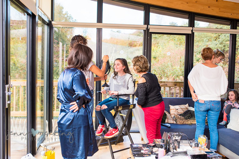 flower girl getting her make up done at Natural Retreats Yorkshire