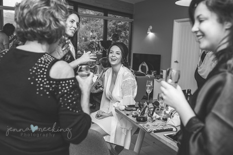 bridesmaids getting ready and laughing photography yorkshire