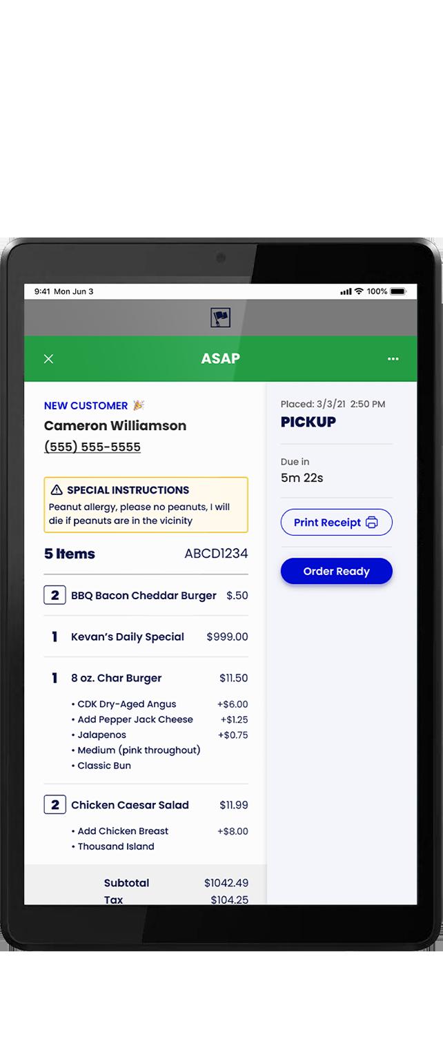The Captain App For Restaurants - Tablet