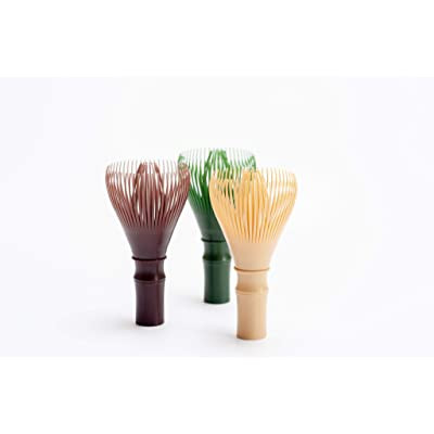 three different synthetic matcha whisks