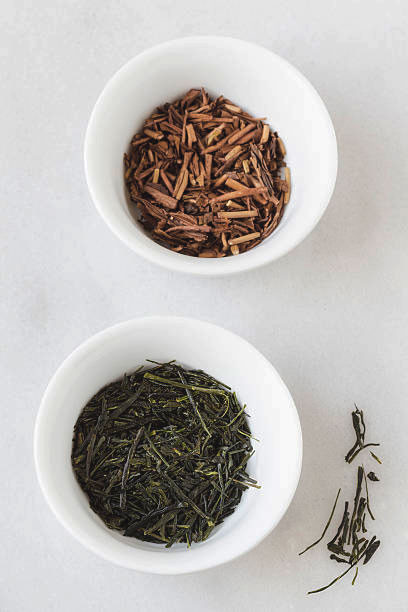 Non roasted and roasted Japanese teas