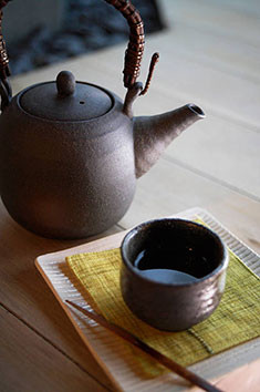 dovin clay japanese teapot top handle yunomi tea