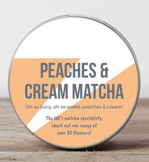 a can of peaches & cream matcha powder tin