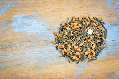 Sencha leaves mixed with genmai genmaicha loose whole leaf Japanese tea