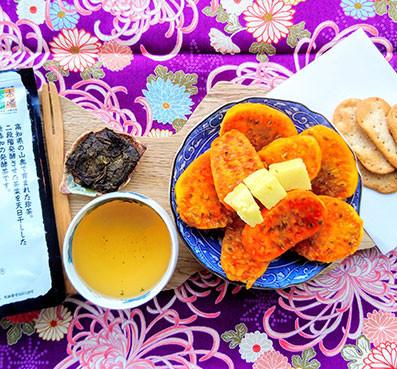 goishicha japanese dark fermented tea prickly pears pecorino crackers
