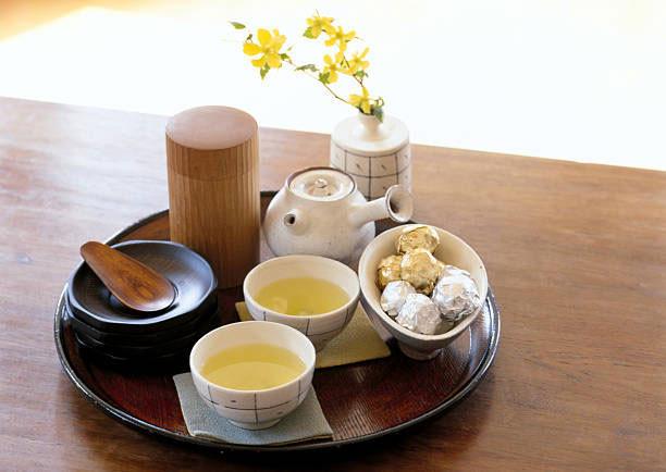 Japanese tea set with wooden tea caddy