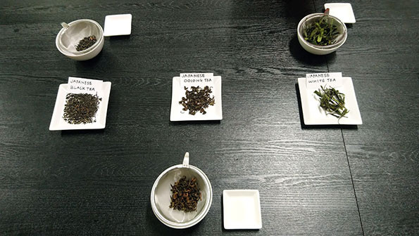 White, black and oolong Japanese teas on display for visual inspection
