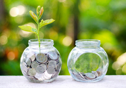 coins in a jar with a plant on top meaning saving