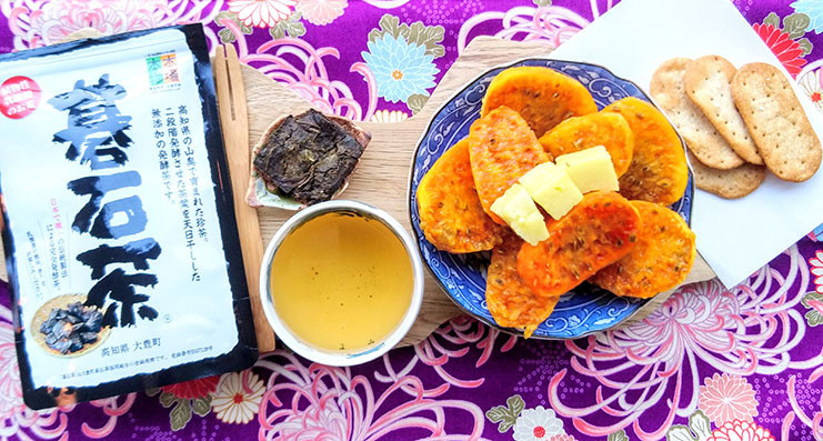 goishicha dark fermented japanese tea cheese crackers and fruit prickly pear gyokuro