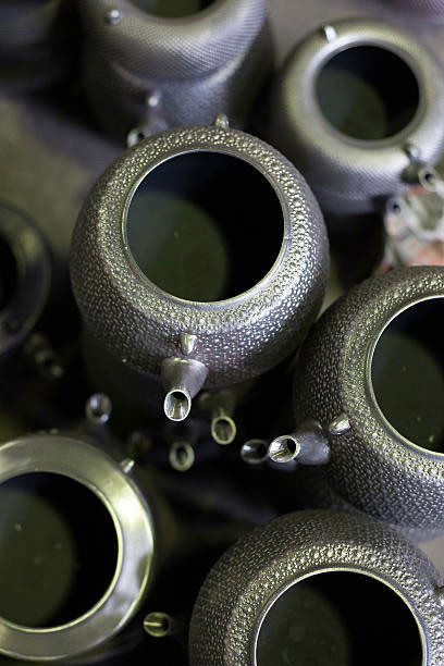 nanbu teapots awaiting the enamel process