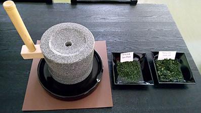 ishi usu on display with aracha and shiage tencha